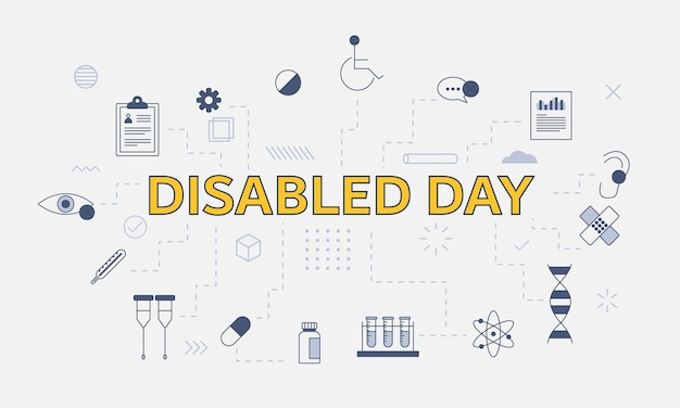 Disabled day concept with icon set with big word or text on center vector illustration