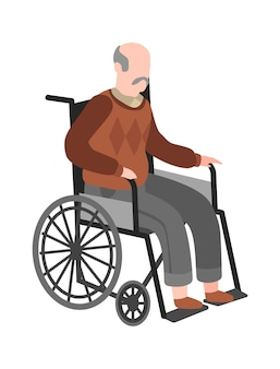 Disabled elderly man on wheelchair. old adult handicapped person, healthcare vector medicine concept