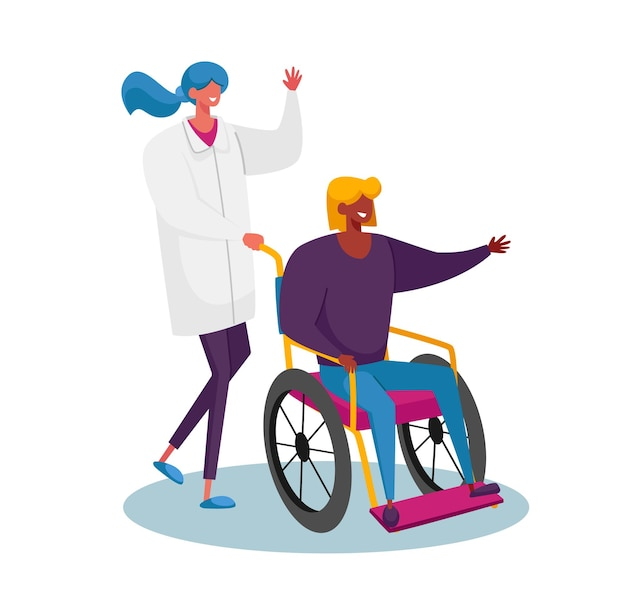 Disabled female character riding wheelchair with nurse or doctor therapist assistance