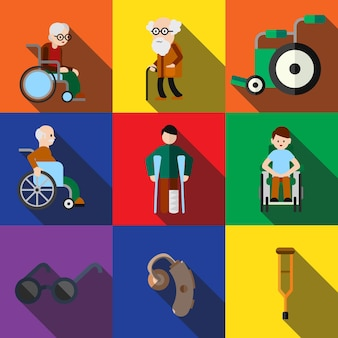 Disabled flat icons set elements, editable icons, can be used in logo, ui and web design