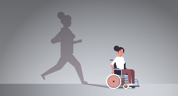 回復を夢見て車椅子で無効になっている女の子