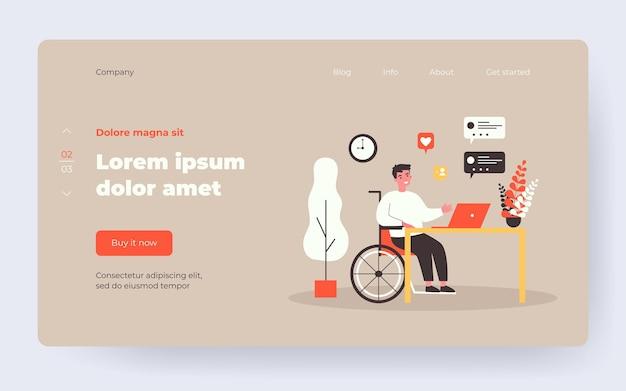 Парень-инвалид в инвалидной коляске в чате онлайн. человек на ноутбуке, диалоговом пузыре, как плоские векторные иллюстрации. коммуникация, социальные сети, концепция инвалидности для баннера, дизайн веб-сайта или целевой веб-страницы