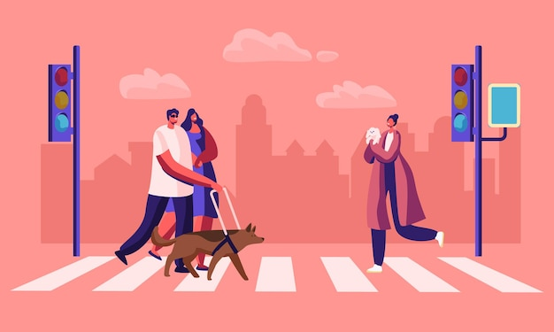 Disabled and healthy pedestrians with pets crossing road interchange in city