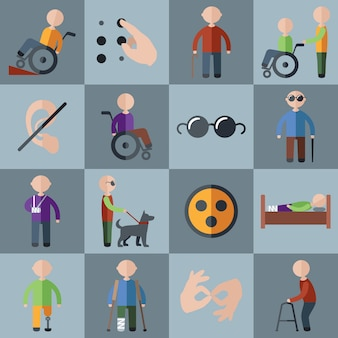 Disabled icons and characters set