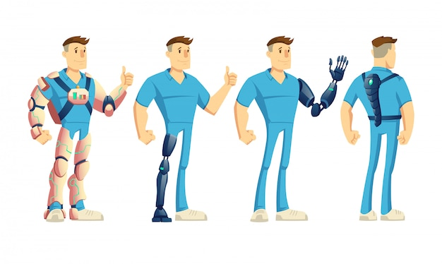 혁신적인 외골격 또는 exosuit를 입고 장애인 남자 무료 벡터