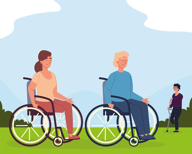 Disabled man and woman