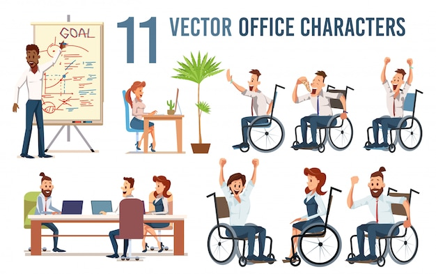 Disabled office employees vector characters set