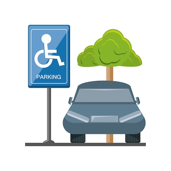 Disabled parking with parked car