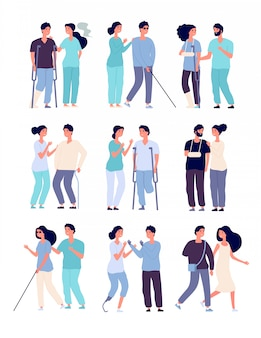 Disabled people and assistants. persons in wheelchair, men with crutches and prosthesis with nurses  disabilities characters