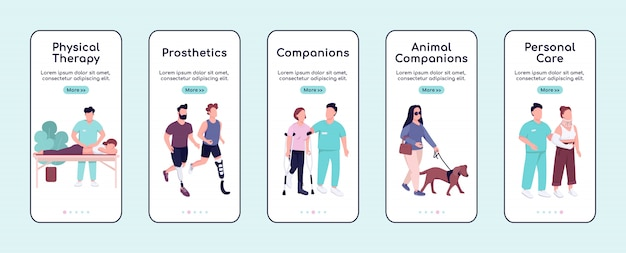 Disabled people care and companions onboarding mobile app screen flat  template.