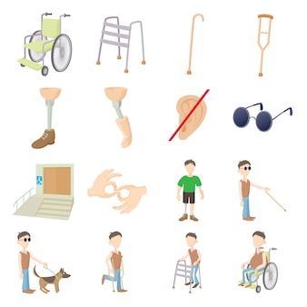 Disabled people care set in cartoon style isolated vector