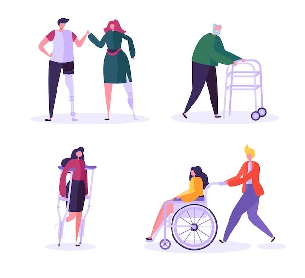 Персонажи-инвалиды. женщина в инвалидной коляске с осторожным мужчиной. больные с ограниченными возможностями, девушка на протезах. восстановление и реабилитация.