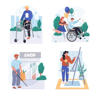Disabled people concept scenes set vector illustration of characters