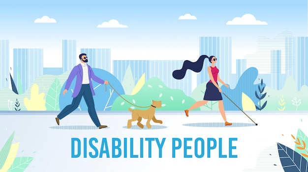 Disabled people daily life flat banner