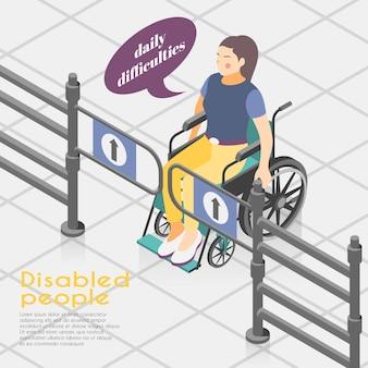 Disabled people difficulties isometric illustration composition with wheelchair bound woman unable to open entrance gates