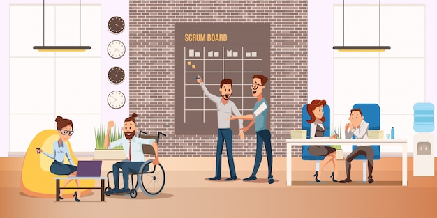Disabled people full life flat vector concept