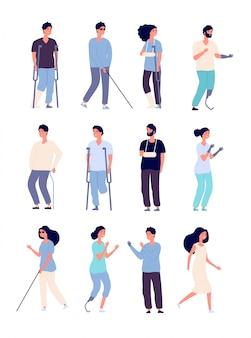 Людей с ограниченными возможностями. инвалиды с костылями и инвалидными колясками изолированные векторные символы для концепций инвалидности