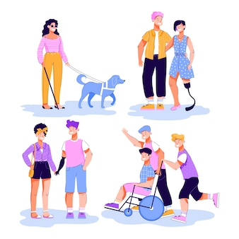 Disabled people having walk and romantic dates illustration