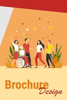 障害者の助けと多様性。杖を持っていて、友人やボランティアと車椅子で会っている障害者。障害、支援、多様な社会の概念のベクトル図