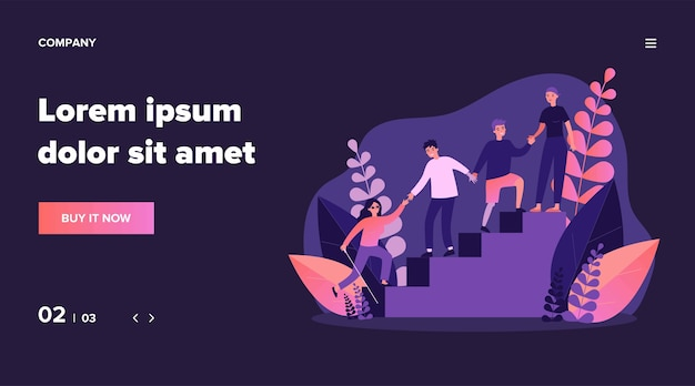 Disabled people helping to each other. handicapped men and women holding hands and climbing upstairs   illustration. community, support concept for banner, website  or landing web page