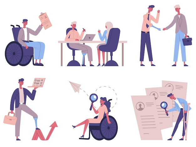 Disabled people hiring. handicapped characters business process, invalid male and female persons recruitment vector illustration set. disability employers