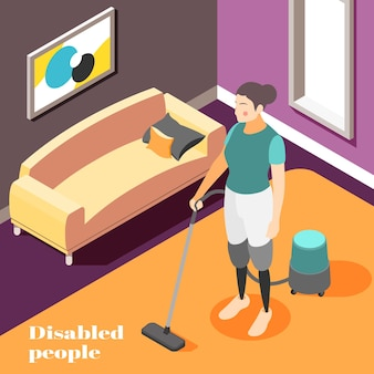 Disabled people household chores isometric composition with woman wearing prosthetic legs vacuum cleaning home illustration
