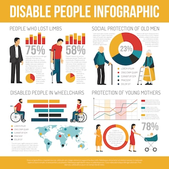 Disabled people infographic set
