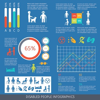 Disabled people infographic template