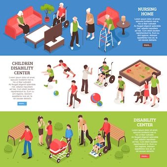Disabled people isometric banner set