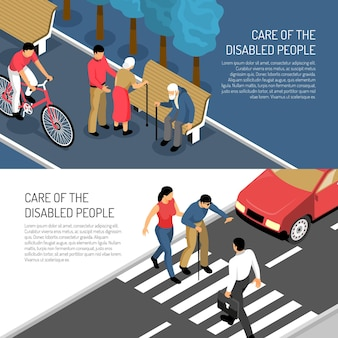 Disabled people isometric horizontal banners assistance to elderly and blind persons isolated