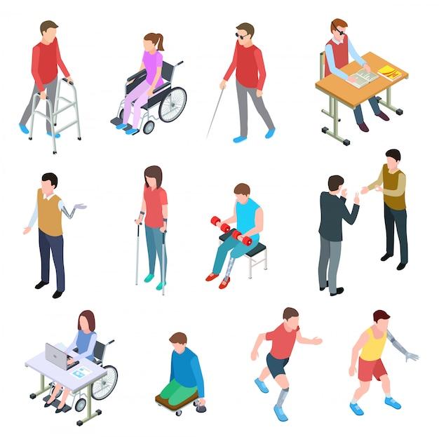 Инвалиды изометрии. лица с травмами в инвалидных колясках, с протезами, слепые и пожилые люди. векторный набор изолированных