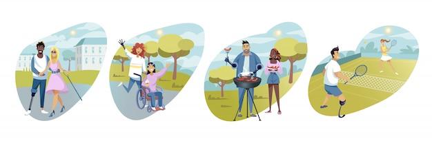 Disabled people, leisure, sport activity, rehabilitation, set concept
