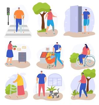 장애인 생활 방식, 흰색 세트, 벡터 일러스트레이션, 휠체어에 앉은 납작한 여성 인물, 다리가 없는 장애인.