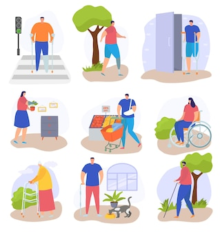Disabled people lifestyle, isolated on white set, vector illustration, flat woman person character at wheelchair, disability man without leg.