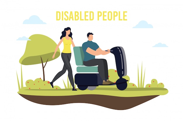Disabled people mobility and transportation illustration