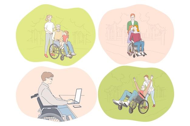幸せなアクティブなライフスタイルの概念を生きる車椅子の障害者