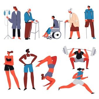 건강하고 건전한 운동선수가 연습하고 운동하는 것과 비교하여 휠체어를 탄 장애인은 보살핌과 치료가 필요합니다. 체육관에서 핸디캡 대 강한 캐릭터. 평면 스타일의 벡터