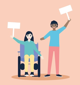 Disabled people protesting