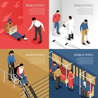 Disabled people in public transport person needing help artificial limbs isometric  concept isolated
