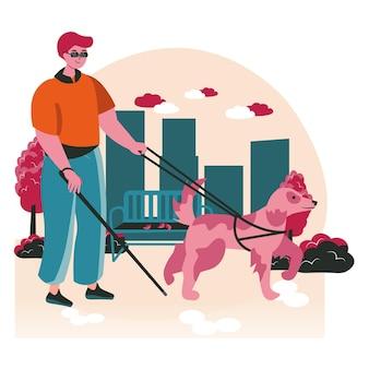 障害者シーンのコンセプト。通りで盲導犬と一緒に歩いている盲人。アクセシビリティとリハビリテーション障害者、人々の活動。フラットなデザインの文字のベクトル図