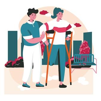 Концепция сцены людей с ограниченными возможностями. женщина-инвалид ходит на костылях, мужчина ей помогает. доступность и реабилитация инвалидов деятельность людей. векторная иллюстрация персонажей в плоском дизайне
