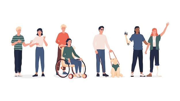 障害者セット。義足と車椅子のある男女、耳の不自由な人、犬の付き添いのある盲人。 。