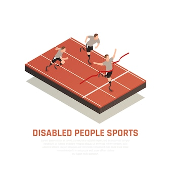 Disabled people sport isometric composition with 3 amputee blade prosthesis runners men crossing finish line