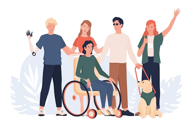 Disabled people standing together. disabled people living active life concept, ableism and devirsity. people with prosthesis and in wheelchair, deaf-mute and blind.