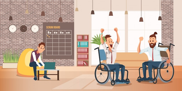 Disabled people successful work  concept