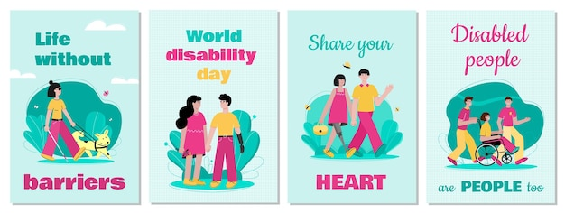 Disabled people support and inspiration cards set Premium Vector