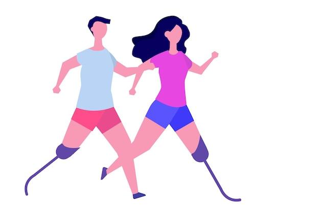 障害者および義肢。バイオニックの足を持つキャラクター。ベクトルイラスト