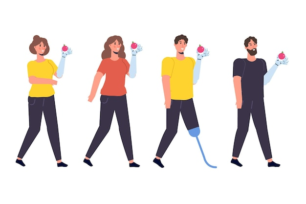 Disabled people with disabilities and prosthesis. character witth a bionic arm. vector illustration