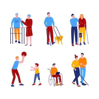 Disabled people with friends and assistants. men and women with various devices and prostheses.