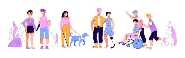 Disabled people with friends cartoon isolated set of men and women